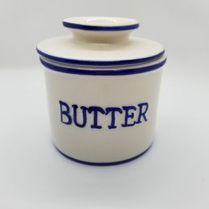Vintage Butter Bell White with Blue